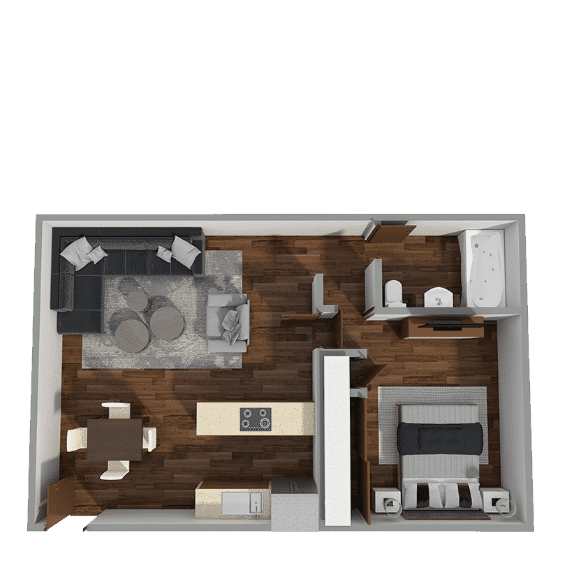 1 bed and 1 bath floor plan