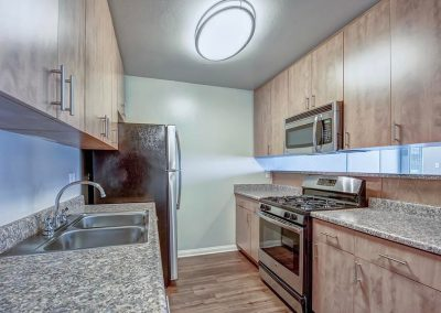 Stainless steel appliances refrigerator gas range and oven dishwasher garbage disposal custom cabinets new counter tops