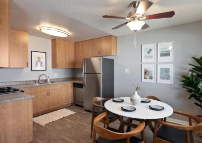 The Circle Apartments Dining Area with Kitchen in view