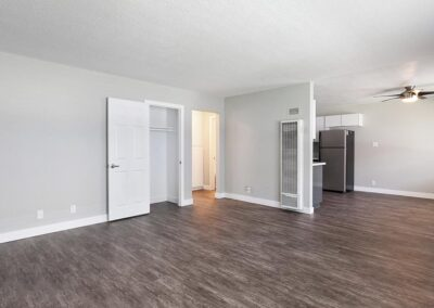Dark Wood-Style Flooring in the Living Room and Kitchen