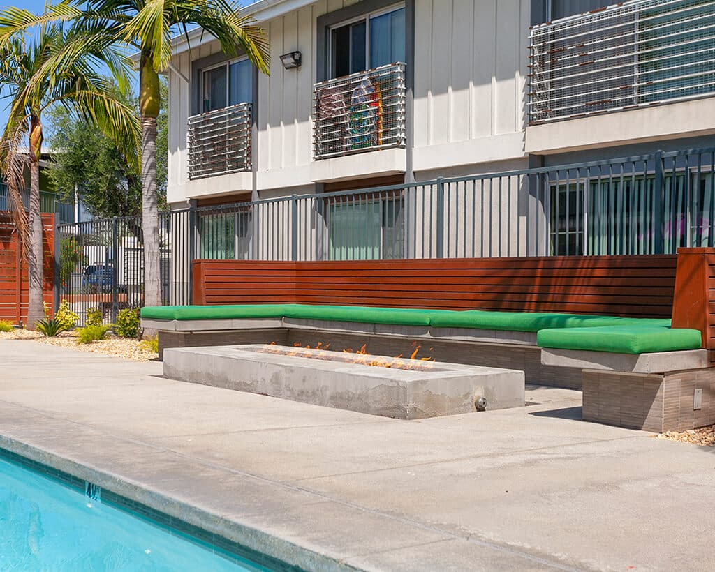 The Circle Apartments Amenities Resting Benches and Fire Pit