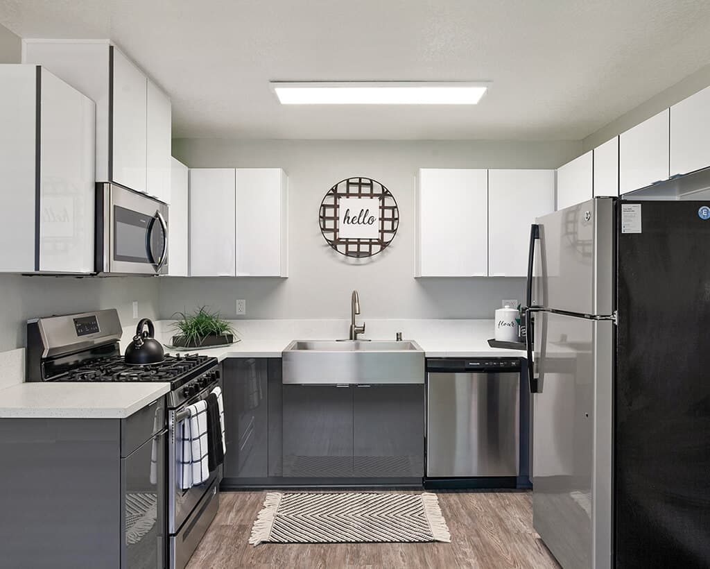 The Circle Apartments Kitchen Area with Stainless Steel Appliances and Fixtures